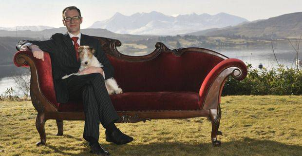 Peter Sim and Molly, Wire Fox Terrier, Peaty Nose Ltd, Malt Embassy, Cuillin Hills Hotel, Portree, Isle of Skye